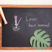 レーザー脱毛と書いた黒板